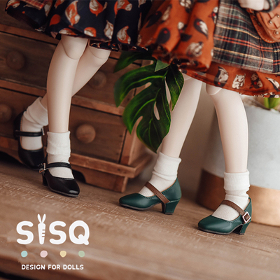 taobao agent Retro square head small high-heeled BJD 1/4 1/3 MDD six-point baby shoes small cloth OB24 AS bear sister rabbit sister GL