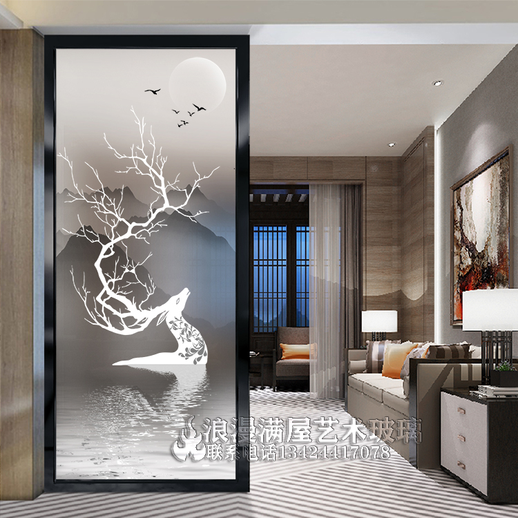168 68 Customized Art Glass Partition Living Room Mobile Screen Home Decoration Elk Tv Background Wall Double Transparent Porch Cabinet From Best Taobao Agent Taobao International International Ecommerce Newbecca Com