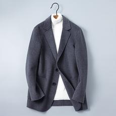 2018秋手工双面呢料男士韩版西装休闲外套 灰色 【预售】