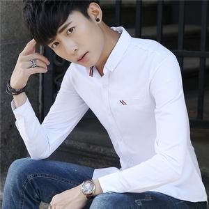 新款男士衬衫 潮流纯色衬衣男百搭休闲衬衫男学生衬衫991#