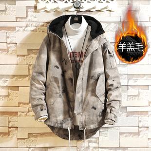 Winter camouflage cotton coat XL mid-length cotton jacket men's overalls thickened plus velvet lambskin cotton jacket men