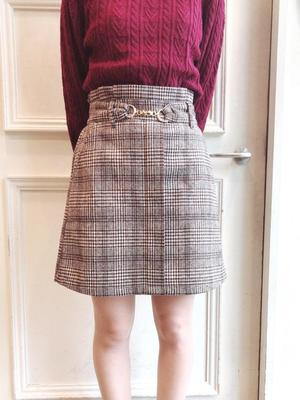 42agent Autumn and winter day metal buckle high waist leopard plaid or solid color retro sweet woolen half-length short skirt - Taobao