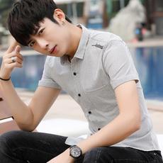 夏季休闲衬衫青年商务男士修身韩版条纹衬衣短袖潮流帅气薄款144