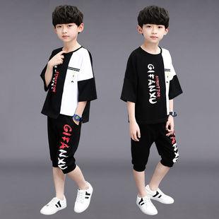 2019新款童装时尚男童夏装中大童男装运动休闲嘻哈街舞儿童套装