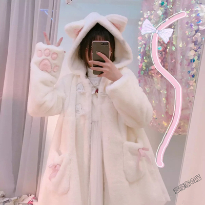 taobao agent Winter Japanese soft girl daily warm jacket cat ears cat thick plus down fur furry coat