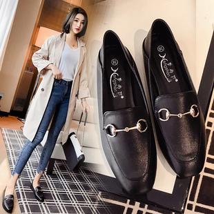 豆豆鞋平底单鞋春季新款网红百搭小皮鞋