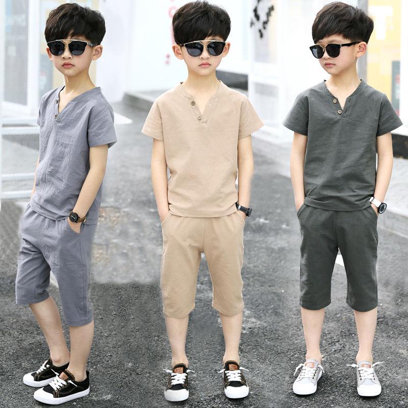 时尚男童短袖套装2020新款童装中大童七分裤男孩休闲t恤两件套潮