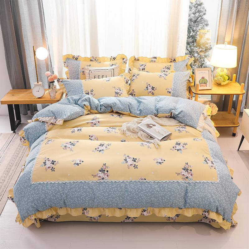 【試用可退】富安那匹馬棉韓版荷葉邊四件套全棉床單被套床上用品