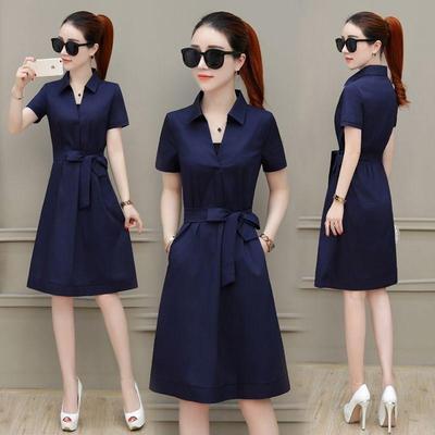 【厂家直销】夏季短袖连衣裙女2020新款韩版收腰中长款显瘦裙子潮