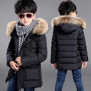 男童羽绒服儿童中大童加厚中长款冬装外套