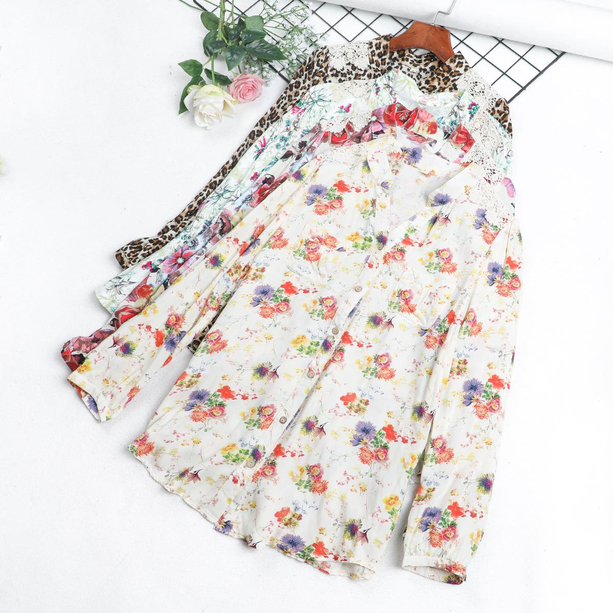 Q7 dài tay của phụ nữ mùa xuân và mùa thu mới V-Cổ in voan áo sơ mi vai ren thêu lỏng hoang dã áo triều