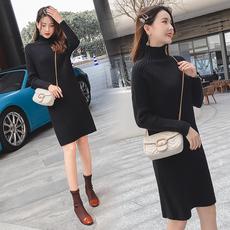 孕妇秋冬毛衣连衣裙韩版时尚款2018新款中长款套头打底衫冬装上衣