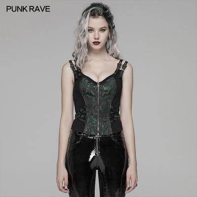 taobao agent *PUNK RAVE steampunk women's clothing jacquard vest Steampunk tie T-shirt wild rock