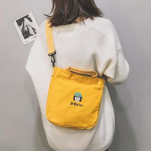 2019新款单肩帆布小挎包上课布袋