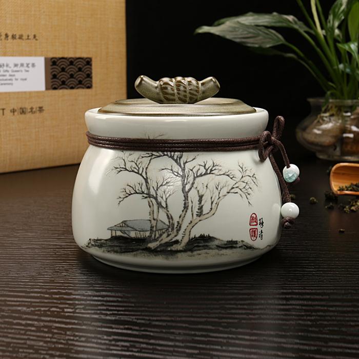 茶叶罐陶瓷小号<font color='red'><b>普洱</b></font>醒茶罐茶盒