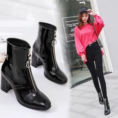 韩国2018春秋新款方头粗跟短靴女黑色前拉链百搭中跟马丁靴及裸靴