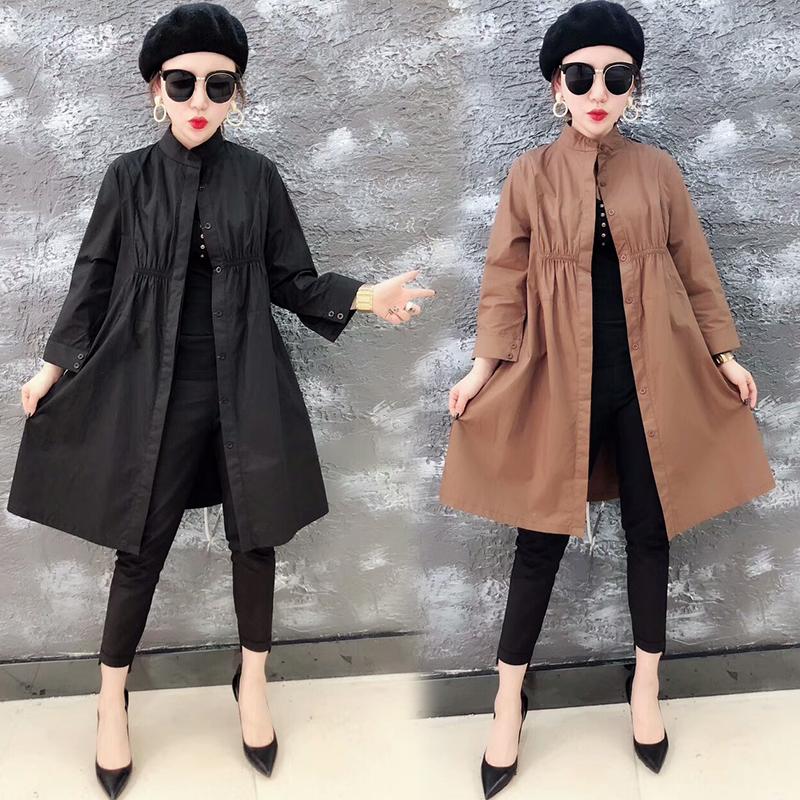 Áo gió phụ nữ phần dài mùa xuân 2018 new coat casual ladies loose đơn ngực chic coat phần mỏng