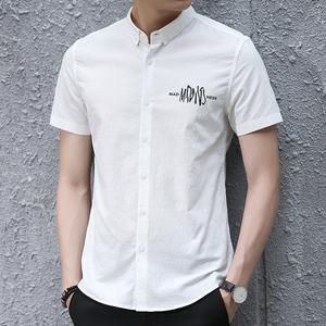 夏季男士帥氣文藝商務休閑短袖襯衫印花 男裝韓版純色襯衣潮