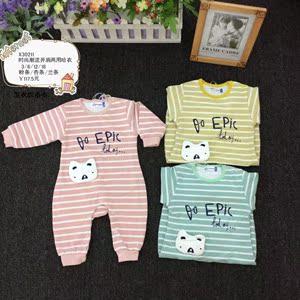 小熊溜溜新生兒春秋純棉嬰兒合同服0-18個月寶寶衣服外出哈衣