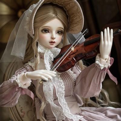 taobao agent 1/3BJD/SD girl court style dress MYOU3 4 points Deliya skirt set + wig + violin