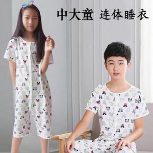 Trẻ em lớn của một mảnh đồ ngủ cotton nam trẻ em mỏng ngắn tay chống bụng mùa hè mát mẻ bé mùa hè điều dưỡng bụng onesies
