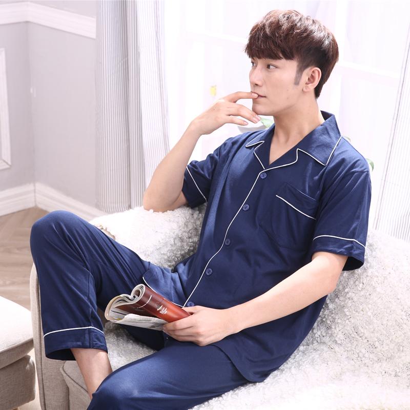 睡衣中年男士夏季韩版短袖长裤薄款休闲开衫睡衣大码家居服套装男