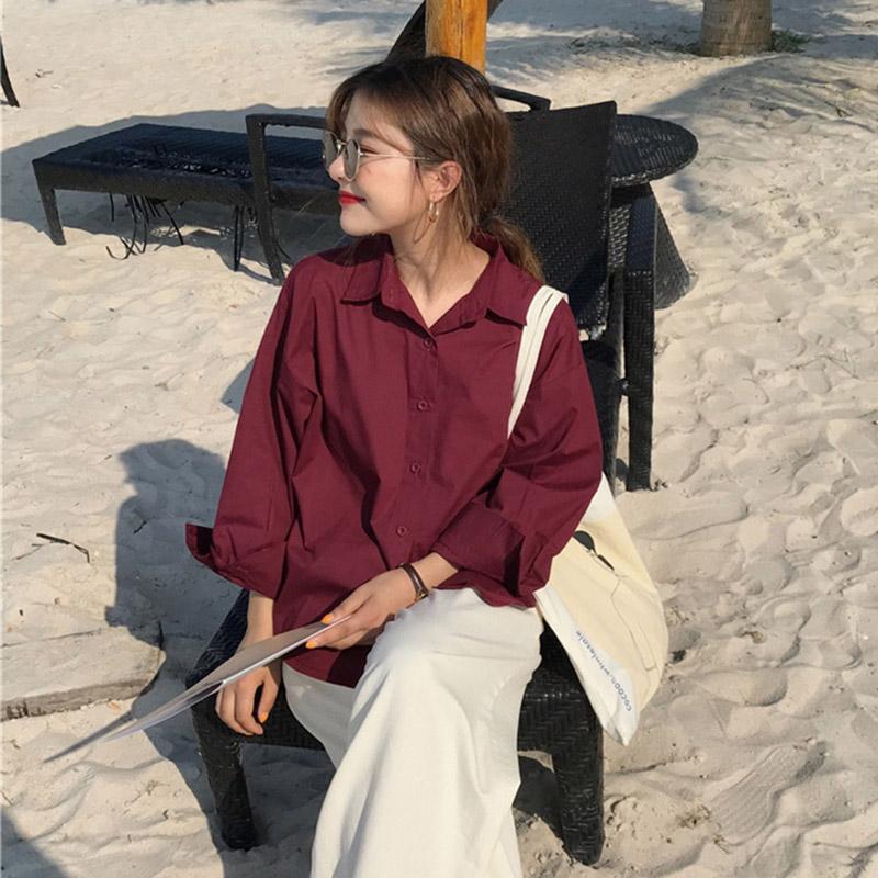 韩范复古纯色衬衣宽松百搭长袖衬衫