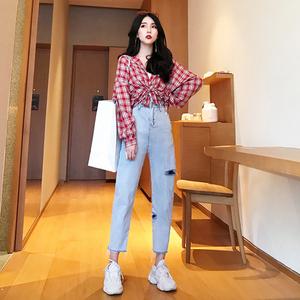 Hồng Kông-hương vị tính khí phù hợp với eo cao tẩm quần jean lỗ nữ chín điểm quần harem + vest + kẻ sọc áo khoác