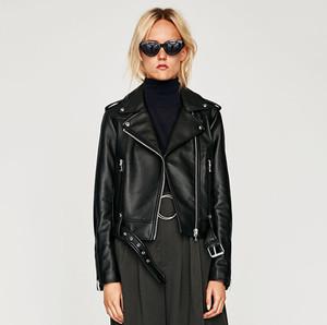 Áo khoác da của phụ nữ coat xe máy quần áo jacket ngắn pu giả da mùa xuân và mùa thu sinh viên đen Châu Âu và Mỹ Fengzhou trạm Slim mỏng triều