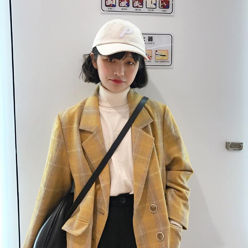 SUPERSCAPE Suobao retro lỏng kẻ sọc ngắn phù hợp với của phụ nữ hàng duy nhất màu vàng kẻ sọc áo khoác