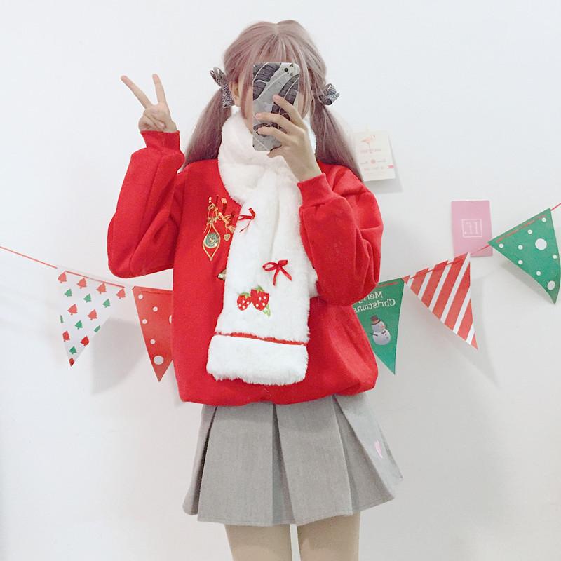 824实拍 刺绣草莓蝴蝶结可爱萌翻少女心毛绒保暖围巾