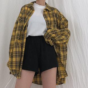 宽松格子衬衫薄长袖社会衬衣韩版百搭外套