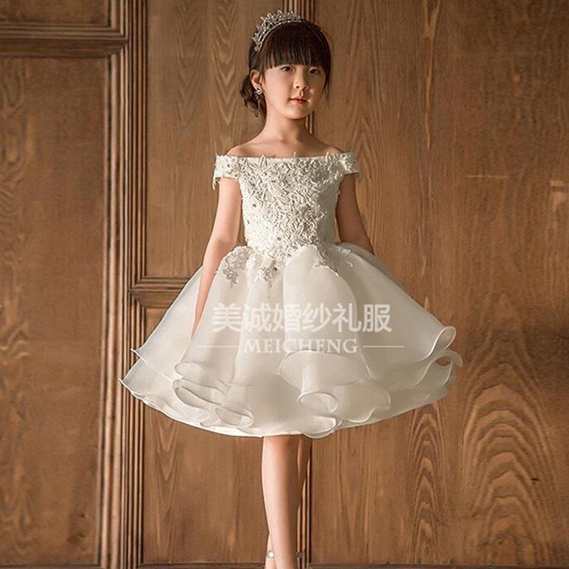 Công chúa váy cô gái sinh nhật trẻ em buổi tối ăn mặc một từ vai hiển thị hoa cô gái máy chủ trang phục đàn piano pettiskirt