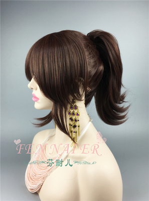 taobao agent Fenner's giant mixed color dark brown single ponytail has styling split COS wig for foreign trade attack