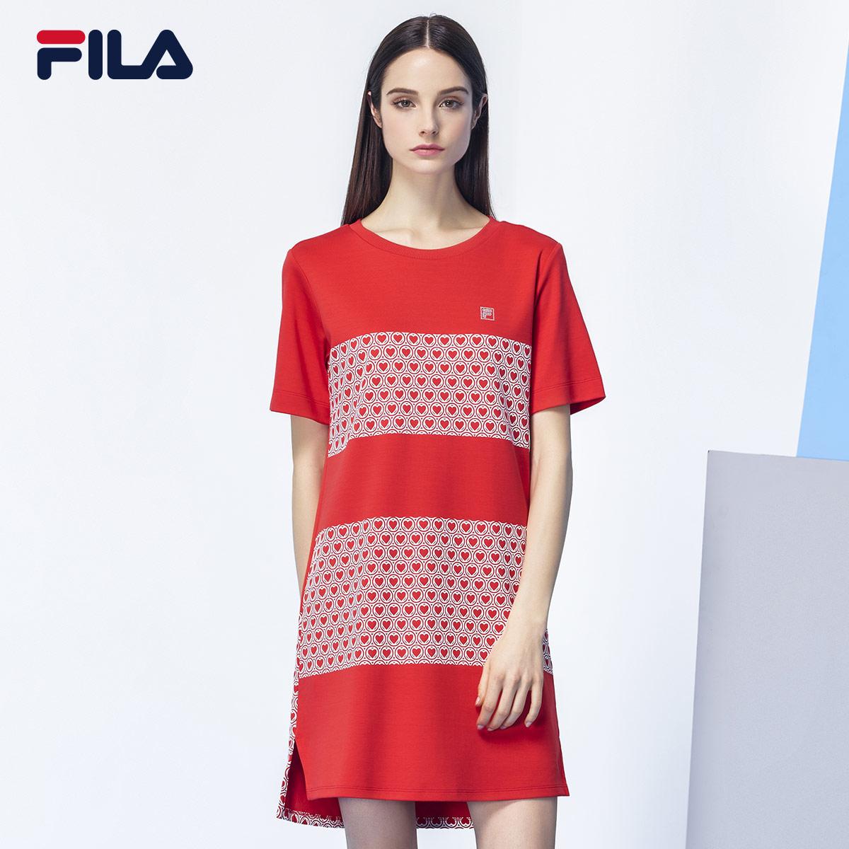 Fila Fila của phụ nữ ăn mặc mùa xuân mới bông thể thao ngắn tay áo đầm nữ | 26733210