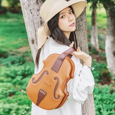 taobao agent New product literary style Lolita violin bag single shoulder messenger double shoulder retro vintage crazy horse material 3way