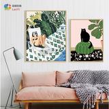Diy ручная работа Номер самостоятельной покраски, наполнения и покраски слово Абстрактная живопись поколение Масло для гостиной мультфильм цвет Рисование персонажа пейзажной кошкой