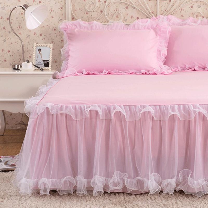 Hàn Quốc phiên bản của giường váy ren mảnh duy nhất công chúa giường trải giường đặt bông dày 1.8 m nệm chống trượt bảo vệ bìa