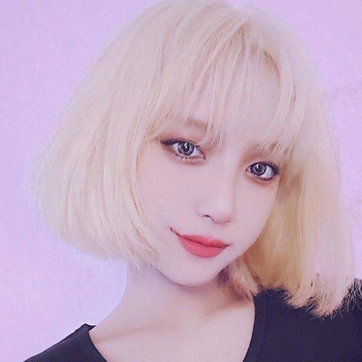 taobao agent Wig female blonde short hair Korean girl short straight hair invisible seamless wig set round face cute net red clavicle hair