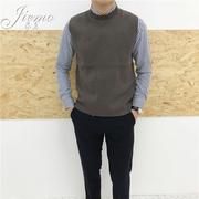 Jie Mo 2017 Mùa Xuân và Mùa Thu Mới Hàn Quốc Nửa cổ Hàn Quốc phiên bản của màu rắn đan vest thanh niên hoang dã không tay vest