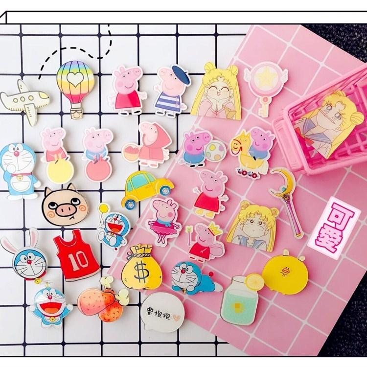 Đầy đủ 9,9 nhân dân tệ Nhật Bản Harajuku phong cách phim hoạt hình acrylic trâm dễ thương cô gái xinh đẹp huy hiệu huy hiệu pin