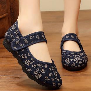 【老北京布鞋】绣花鞋平跟民族风