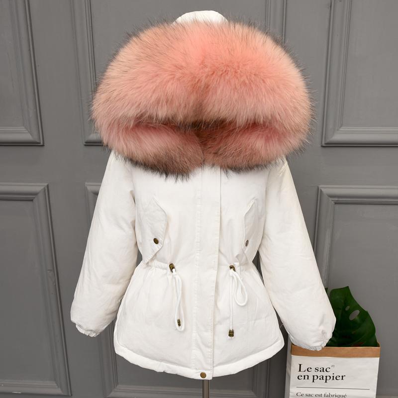 Chống mùa xuống áo khoác nữ đoạn ngắn 2018 mới siêu lớn cổ áo lông thú Hàn Quốc phiên bản của thời trang dày eo Parker giải phóng mặt bằng khuyến mãi