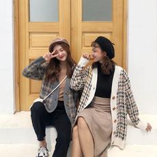 秋季女装2018新款韩版百搭宽松显瘦复古格子开衫长袖毛衣外套学生
