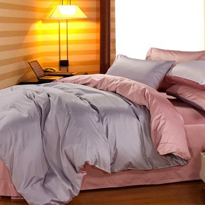 出口欧美式60支纯棉长绒棉贡缎四件套全棉纯色床