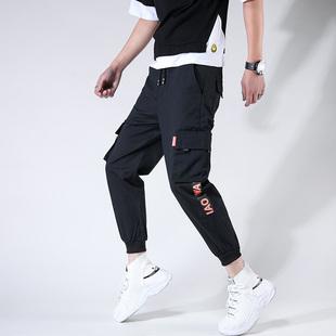 春季男士港风工装裤休闲裤宽松束脚裤子