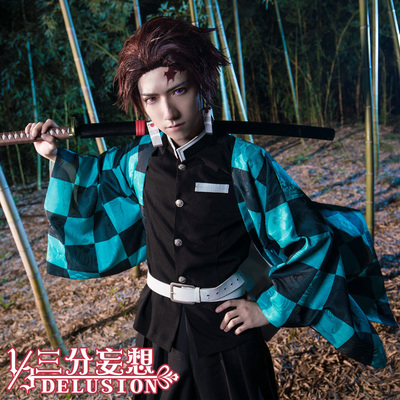 taobao agent Three-point delusion ghost slayer blade cos clothes kitchen door Tanjiro my wife Zenihaori ghost killing team cospaly male
