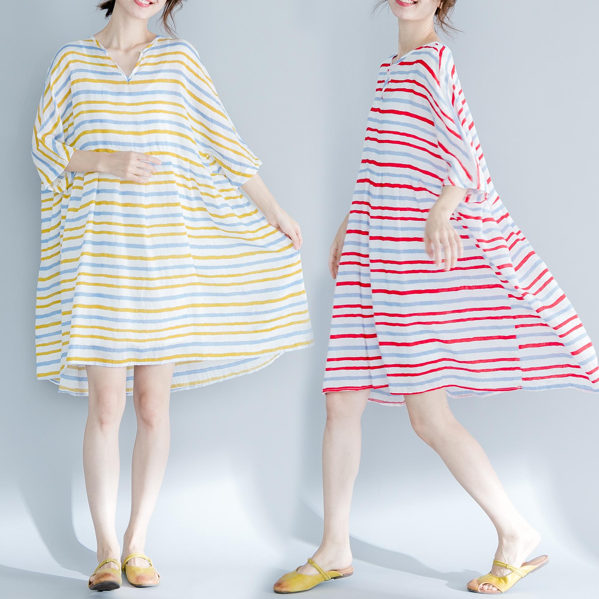 实拍现货 宽松大码彩条连衣裙 9342#大图和视频云盘下载