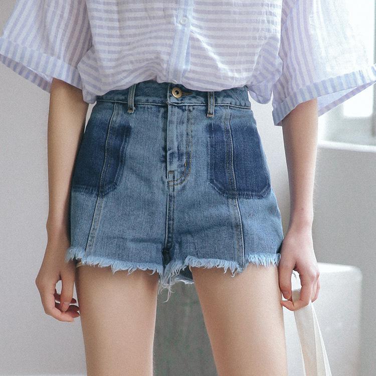 实拍 夏季新款洗水直筒显瘦牛仔短裤 牛仔裤子1087