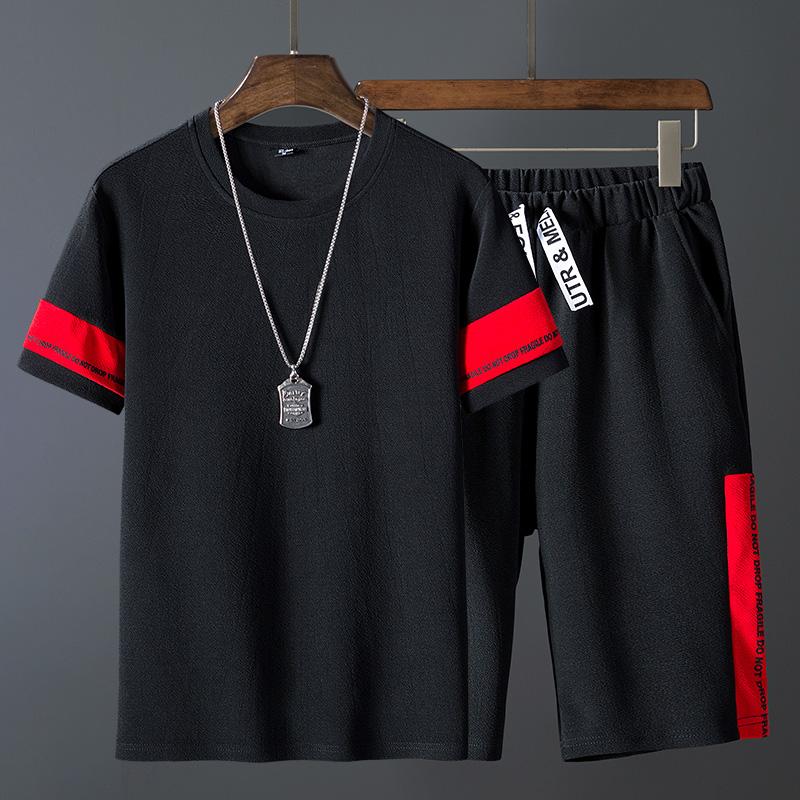 夏季男士t恤五分袖上衣短裤潮牌套装